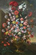 Flowers in a Bronze Urn with Birds, 1718 by Bartolomeo Del Bimbo Il Bimbi