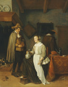 A Soldier Drinking With A Young Woman In An Inn, 1664 by Quiringh Van Brekelenkam