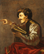 A Seated Lutanist Pointing by Hendrick Ter Brugghen