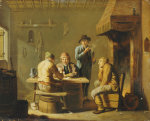 Peasants Playing Cards By A Cottage Fire by Justus Juncker