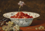 Strawberries With A Carnation In A Chinese Wanli Bowl And Grapes On A Ledge by Frans Snyders