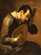 The Sense Of Hearing; A Man Playing A Mandolin by Bartolomeo Passante