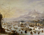 An Extensive River Landscape, With Numerous Figures Skating Outside A Town by Robert Griffier