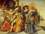 Elegant Figures Making Music On A Terrace By A Lake by Dirck Hals
