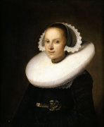 Portrait Of A Young Lady, Half Length In A Black Dress, With A White Lace Cap by Johannes Cornelisz. Verspronck