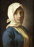 A Girl, Half-Length, In A Blue Jacket And White Headscarf by Pietro Antonio Rotari