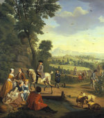 An Elegant Hawking Party Resting In A Park by Jan Josef Horemans The Younger