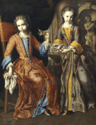 Portrait Of Two Girls, One Seated With A Dog In A Palatial Interior by Domenico Bocciardo