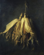 Three Corncobs Hanging From A Nail by Cornelis Van Spaendonck