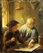 A Youth And A Young Woman Playing The Jeu De L'Oie In An Interior, 1743 by Louis de Moni