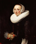 Portrait Of A Lady, In A Black Embroidered Dress by Nicolaes Eliasz