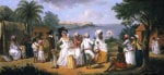 Natives Dancing In The Island Of Dominica, Fort Young Beyond by Augustin Brunais