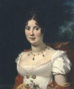 Portrait Of A Lady, Bust Length, Wearing A White Dress And A Red Cape by Baron Francois Pascal Simon Gerard