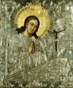 A Silver Icon Of The Akhtyrskoi Virgin, 1776 by Maksim Kuz'min Zolotarev