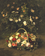 Roses In A Basket Beside A Rose Bush, 1846 by Johan Laurents Jensen