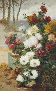 Chrysanthemums In A Walled Garden by Eugene Henri Chuchois