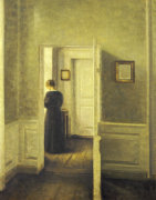 An Interior With A Woman, 1913 by Vilhelm Hammershoi