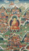 A Tibetan Thang.Ka Depicting Buddha Shakyamuni Seated On A Lotus by Christie's Images