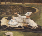 Mrs Newton With A Child By A Pool by James Jacques Joseph Tissot