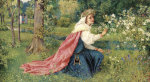 Matilda - Dante, Purgatorio, Canto 28, Dated 1859 by George Dunlop Leslie