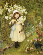 Portrait Of Effie Holding A Lily And A Posy Of Roses In A Garden, 1876 by Marie Stillman