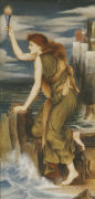 Hero Holding The Beacon For Leander, 1885 by Evelyn de Morgan