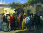 The Stables Of The Bull Ring At Seville Before The Bull Fight by Perez Villamil