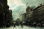 New York Winter Scene In Broadway by Hippolyte Victor Valentin Sebron