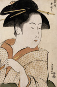 A Bust Portrait Of Ohisa Of The Takashimaya Holding A Tobacco Pipe by Torii Kiyonaga