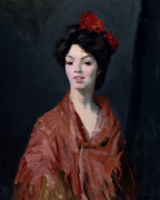 Spanish Woman In Red Shawl by Robert Henri