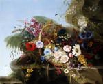 Still Life Of Flowers In A Basket by Adelheid Dietrich