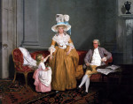 A Family Group, The Father Seated, The Mother And Daughter Standing by Francis Wheatley