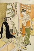 The Wrestler Onogawa And A Waitress In A Teahouse by Katsukawa Shunei