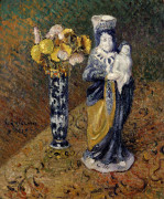 Statuette And A Vase Of Flowers by Gustave Loiseau