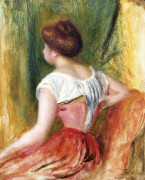 Young Woman Sitting by Pierre Auguste Renoir
