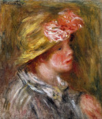 Young Woman In A Flowery Hat (Portait Of Andree) by Pierre Auguste Renoir