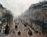 Boulevard Montmartre On A Sunny Foggy Morning by Camille Pissarro