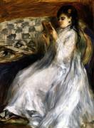 Woman In White Reading by Pierre Auguste Renoir