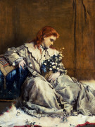 Daydream, Young Red-Headed Girl With A Blue Ottoman by Alfred George Stevens