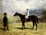 A Gentleman By His Racehorse With Jockey Up On A Racecourse by Harry Hall