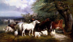 Cattle, Deer, A Gray Mare, And Sheep By A Lake With A Castle Beyond by Henry Barraud