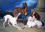 Whippets And A King Charles Spaniel On The Steps Of A Country House