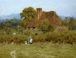 Cottage At Broadham Green,  Surrey, In Sunset Light by Helen Allingham