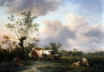 A Shepherd, Cattle And Sheep Near A Town by Balthasar Paul Ommeganck