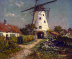 Peasant Folk In A Garden By A Windmill by Evert Pieters