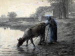 Woman Taking Her Cow To Water by Jean Francois Millet