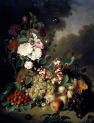 A Still Life With Roses, Chrysanthemums, Orchids, And Other Flowers by Ange Louis Guillaume Lesourd De Beauregard
