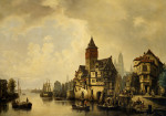A Continental River Town by Hermann Meyerheim
