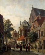 A Dutch Street Scene by Adrianus Eversen
