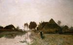 A Dutch River Landscape With Windmills by Paul Joseph Constantin Gabriel